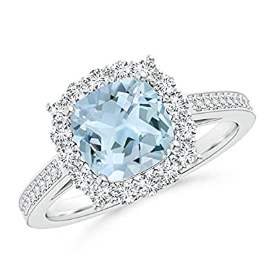 Angara Cushion Aquamarine Cocktail Ring with Diamond Accents in Platinum pmPls1iKUw